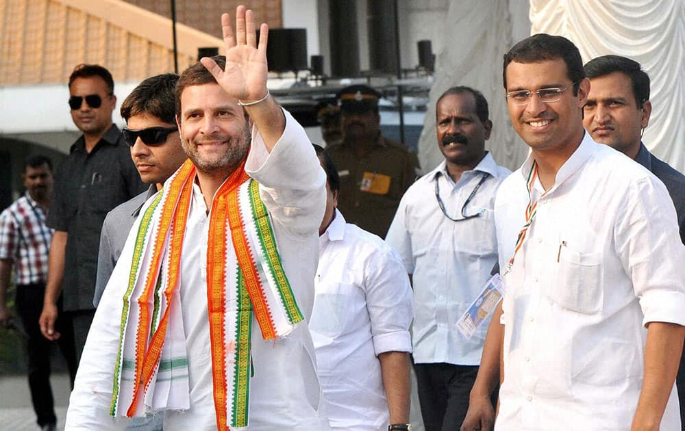 Congress Vice President Rahul Gandhi with NSUI president Roji M. John during the program of NSUI National Executive meeting at Angamali in Kochi.