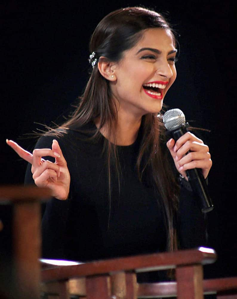 Actress Sonam Kapoor during the promotion of her upcoming movie Neerja at Kala Ghoda festival in Mumbai.