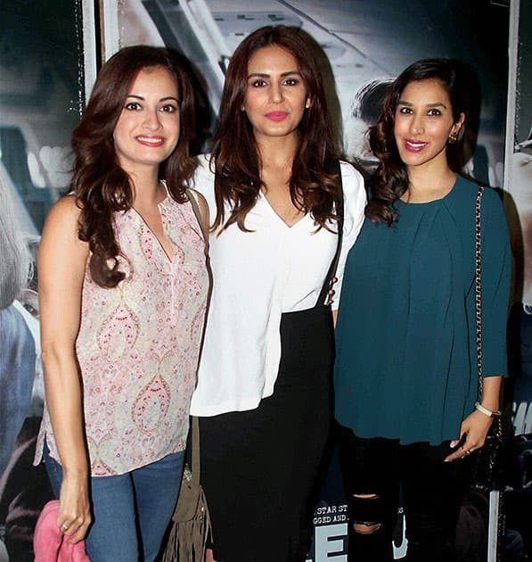 Actors Dia Mirza, Huma Qureshi and Sophie Chaudhary during the screening of film Neerja in Mumbai.
