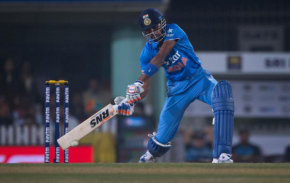 Hardik Pandya plays a ball against Sri Lanka during the second T20 match of a three match series between the two countries, in Ranchi.