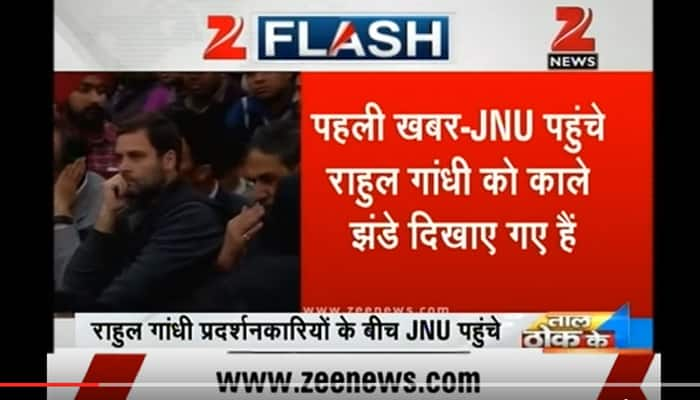 WATCH: When Rahul Gandhi greeted with black flags at JNU