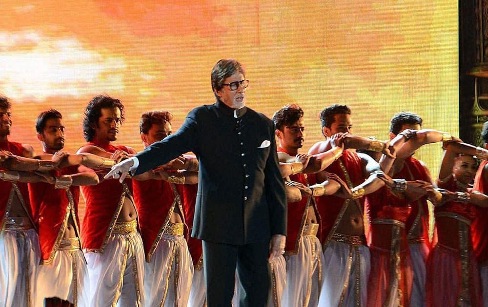 Megastar Amitabh Bachchan perform at a cultural event Maharashtra Night during the Make In India week in Mumbai.