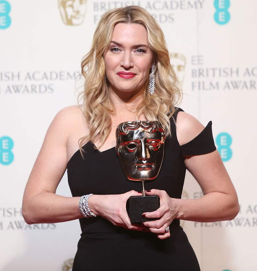 Actress Kate Winslet poses with her award for Best Supporting Actress in the film 'Jobs' backstage at the BAFTA 2016 film awards at the Royal Opera House in London.