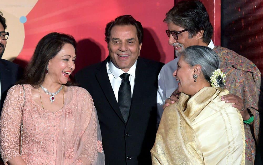 Bollywood legends Dharmendra, Hema Malini, Amitabh Bachchan and Jaya Bachchan during the launch of actress and MP Hema Malinis music album Dream Girl, in Mumba.