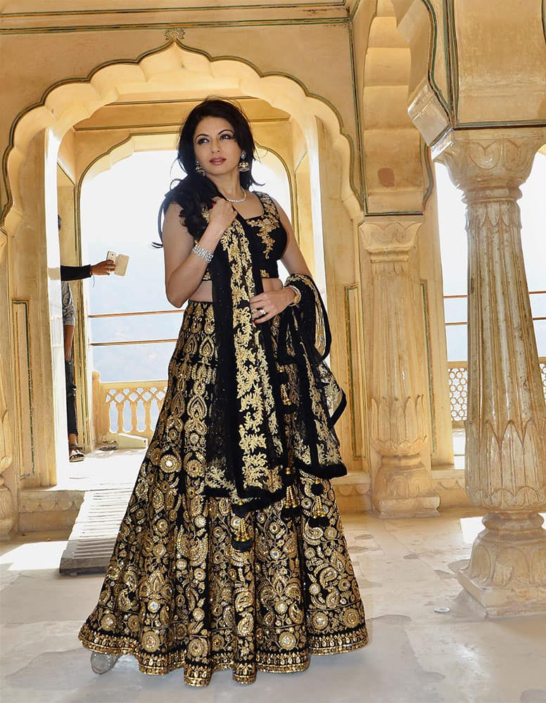 Actress Bhagyashree during a photo shoot at Amber Fort in Jaipur.