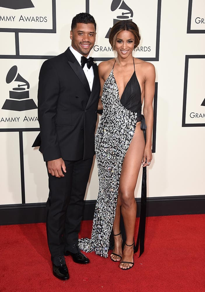 Seattle Seahawks quarterback Russell Wilson and Ciara arrive at the 58th annual Grammy Awards at the Staples Center, in Los Angeles.