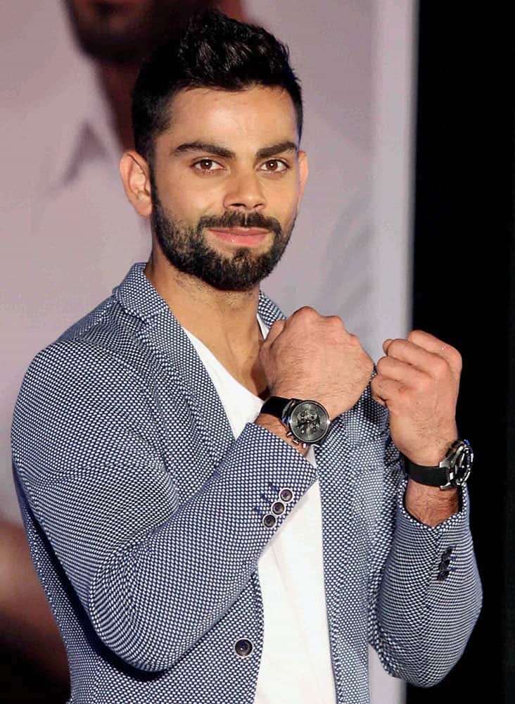 Cricketer Virat Kohli at a function in Mumbai on Tuesday. Kohli was announced as the Indian male brand ambassador for Swiss watch manufacturer TISSOT at the function.