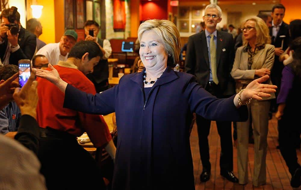 Democratic presidential candidate Hillary Clinton meets with employees of the Rio during a visit to the hotel and casino, in Las Vegas.