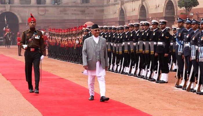 Nepal PM KP Sharma Oli receives ceremonial reception at Rashtrapati Bhawan