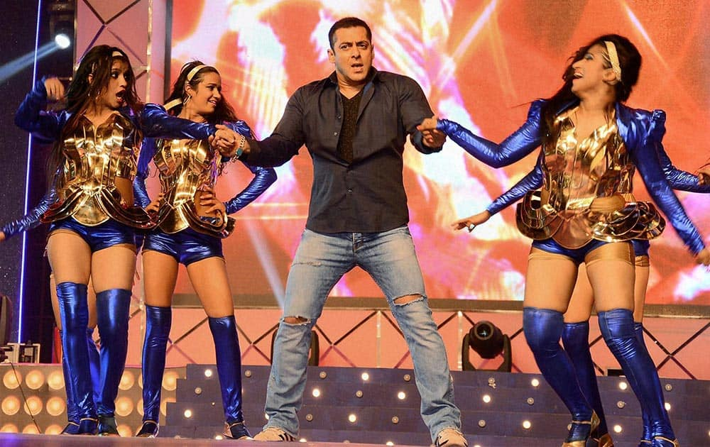 Bollywood actor Salman Khan performs at a programme in Surat.