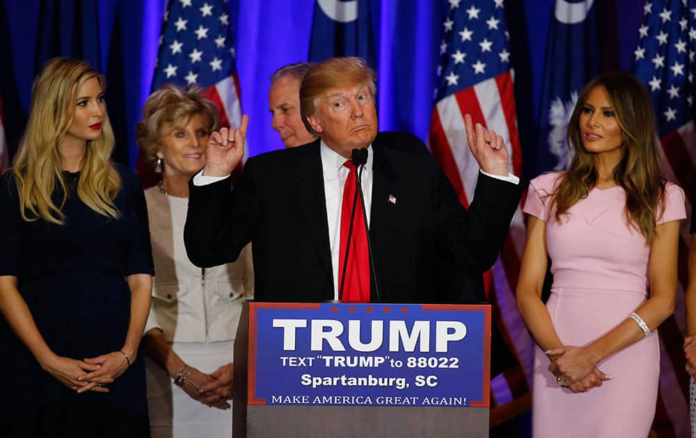 Republican presidential candidate Donald Trump speaks during a South Carolina Republican primary night event in Spartanburg, S.C.