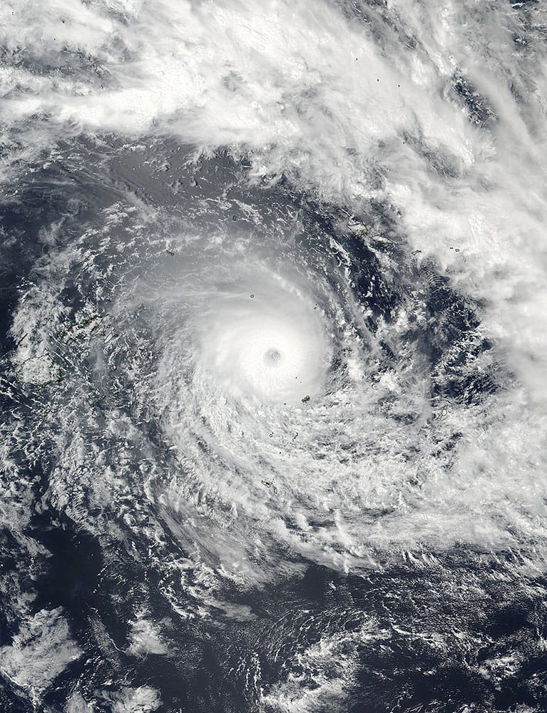 This Feb. 19, 2016, satellite image released by NASA Goddard Rapid Response shows Cyclone Winston in the South Pacific Ocean. The Pacific island nation of Fiji was hunkering down Saturday as a formidable cyclone with winds of 300 kilometers (186 miles) per hour bore down.