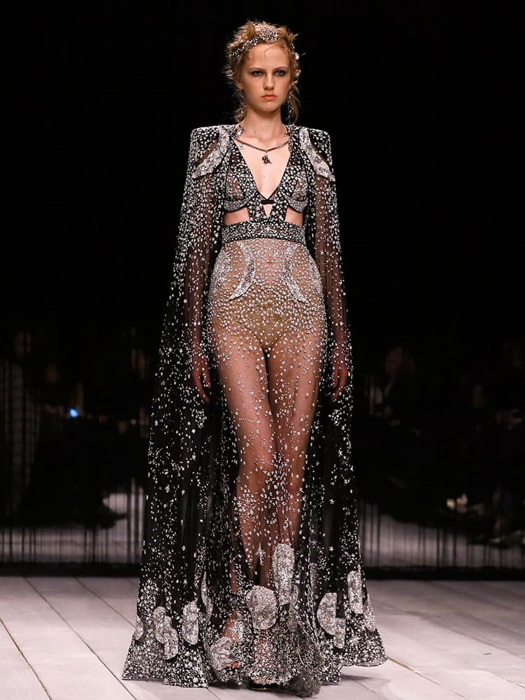 A model displays a design during the Alexander McQueen Autumn/Winter show at London Fashion Week.
