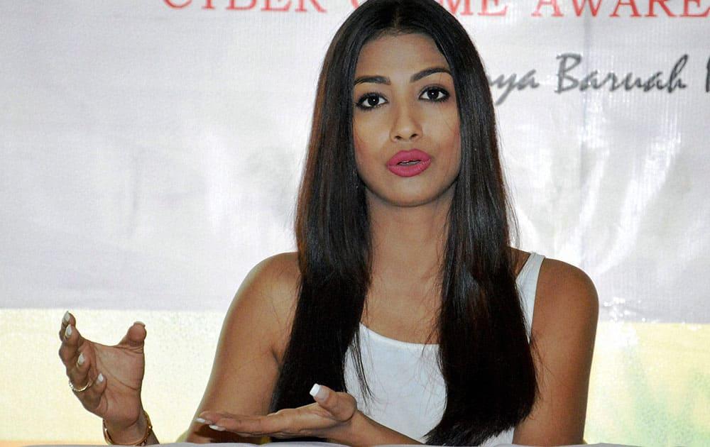 Femina Miss India East 2016 winner Rajkanya Baruah addressing the media on cyber safety awareness, in Guwahati.