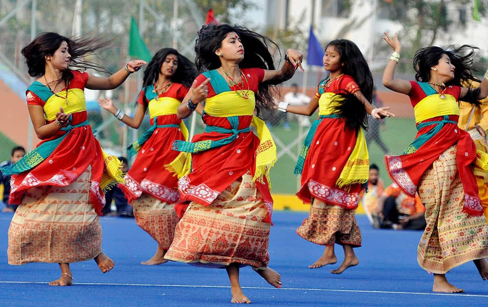 Artists performing during the Opening Ceremony of 64th All India Police Hockey Championship at Maulana Md. Tayabullah Hockey Stadium, Bhetapara in Guwahati.