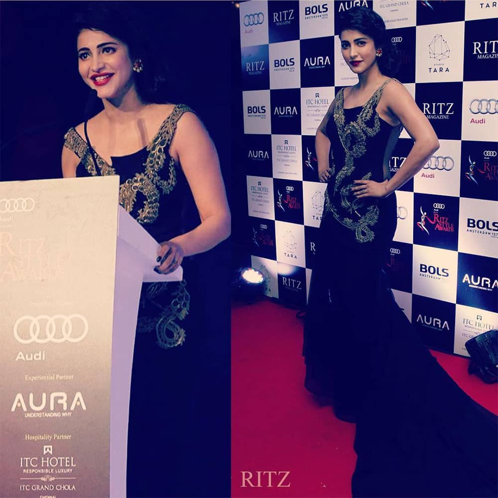 shruti haasan : -Thankyou ritz for my award the support and the appreciation !! -instagram