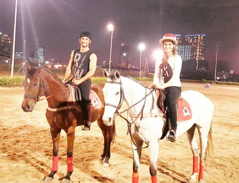 Horse riding sessions!! @itsSSR #Raabta Twitter@kritisanon