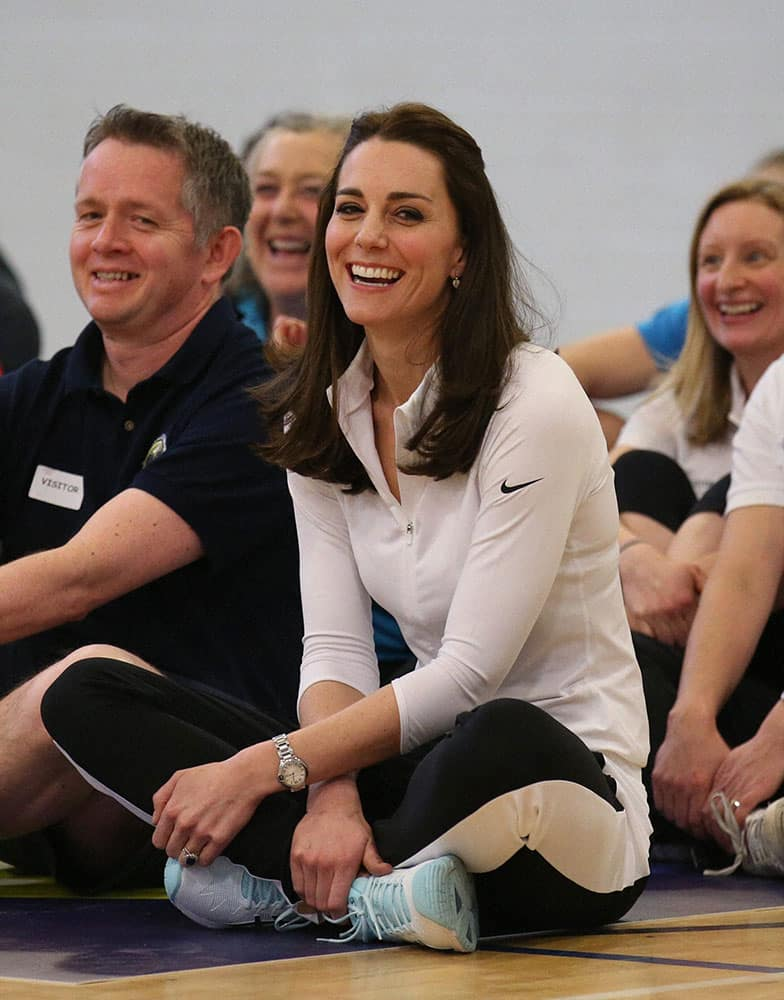 Britains Kate, the Duchess of Cambridge takes part in a tennis workshop with Andy Murrays mother Judy at Craigmount High School in Edinburgh, as she carries out a series of engagements in the Scottish capital.