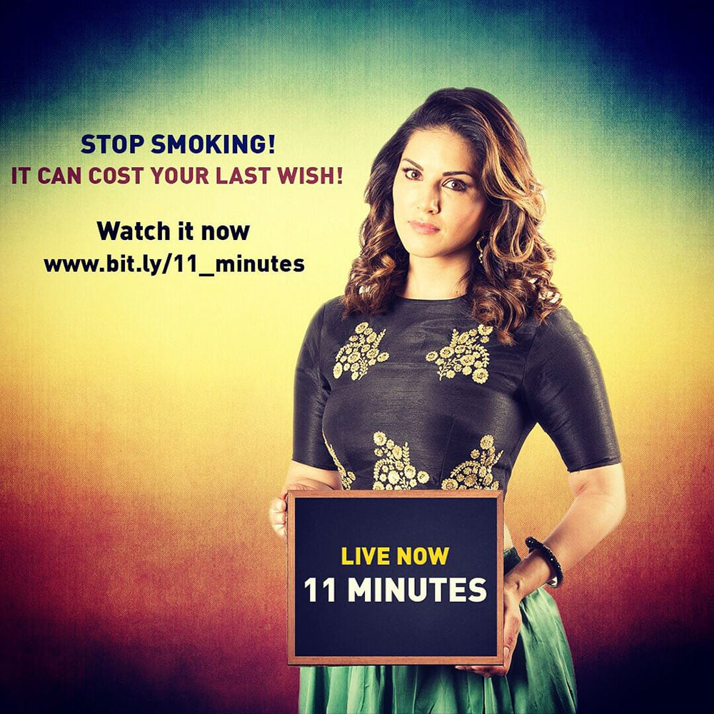 Sunny Leone :- Check out the short film @deepakdobriyal and @aloknath Sir made for you to stop smoking!!  -twitter