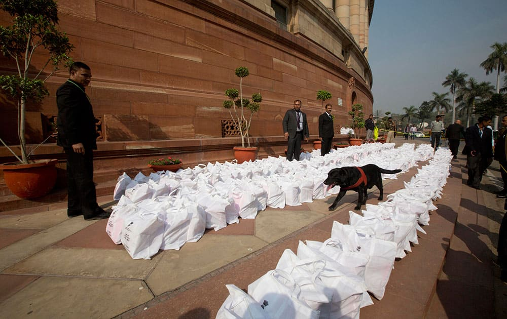 The Railway Budget 2016-17 documents brought in the Parliament House premises under security, in New Delhi.