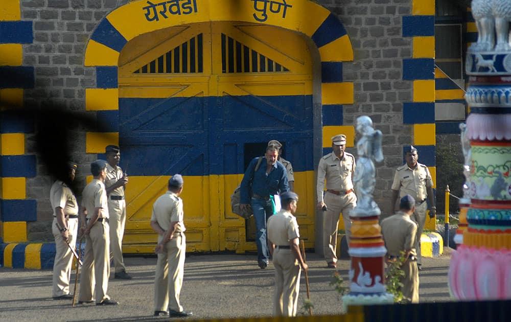Sanjay Dutt walks out of Yerwada prison in Pune.