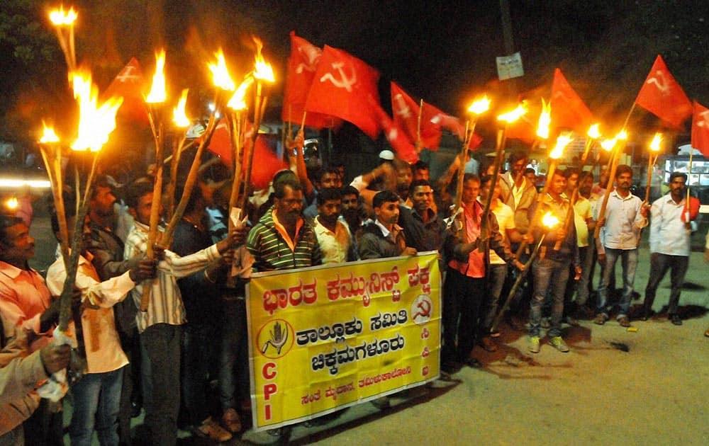 CPI activists carried torch parade demanding for release of JNU student Kanhaiya Kumar arrested under anti -national statement at Chikmagalurin Karnataka.