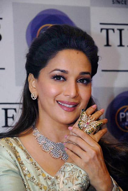 Actress Madhuri Dixit at a launch event in Pune.