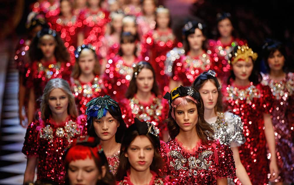 Models wear creations part of the womens Dolce & Gabbana Fall-Winter 2016-2017 collection, that was presented in Milan, Italy.