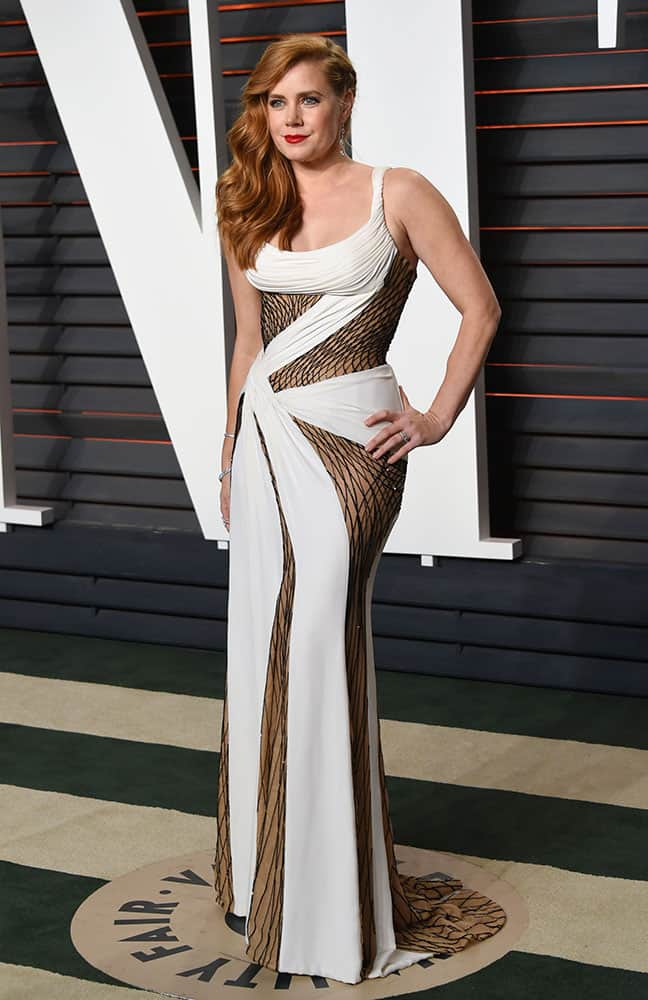 Amy Adams arrives at the Vanity Fair Oscar Party in Beverly Hills, Calif.