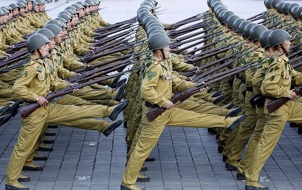 North Korean soldiers march across the Kim Il Sung Square during a military parade in Pyongyang, North Korea.