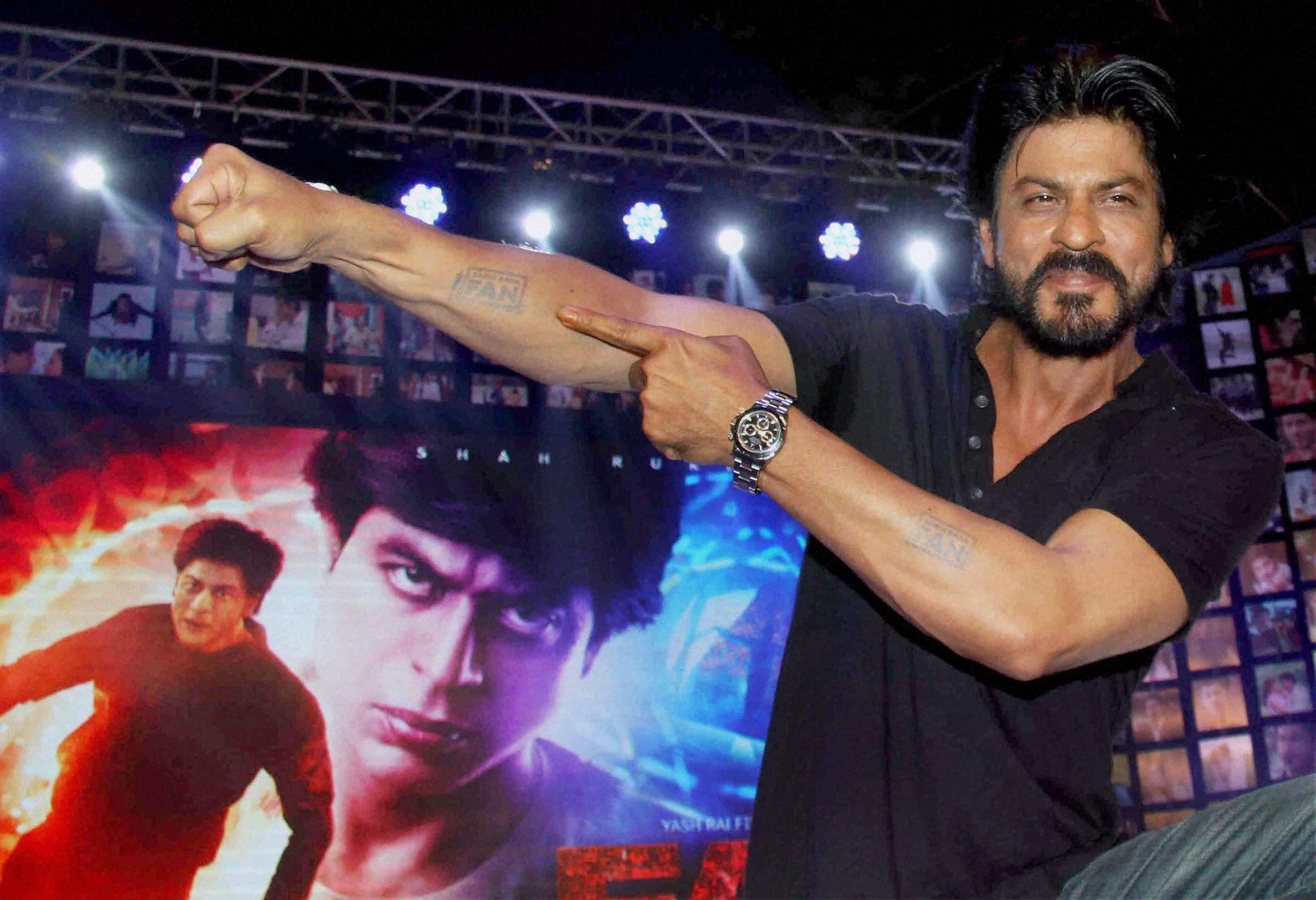 Actor Shahrukh Khan during the trailer launch of film Fan in Mumbai.