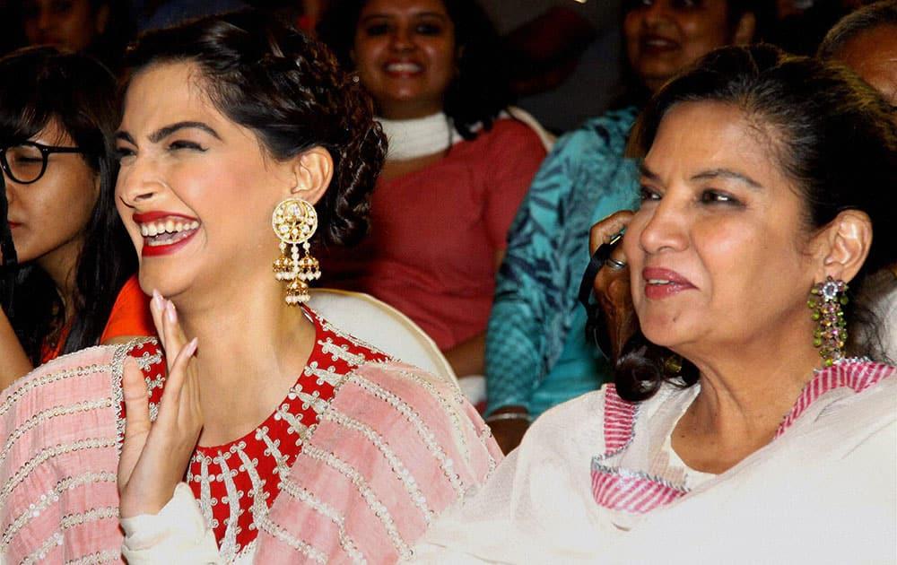 Bollywood actors Sonam Kapoor and Shabana Azmi during an event to celebrate film Neerjas success in Mumbai.