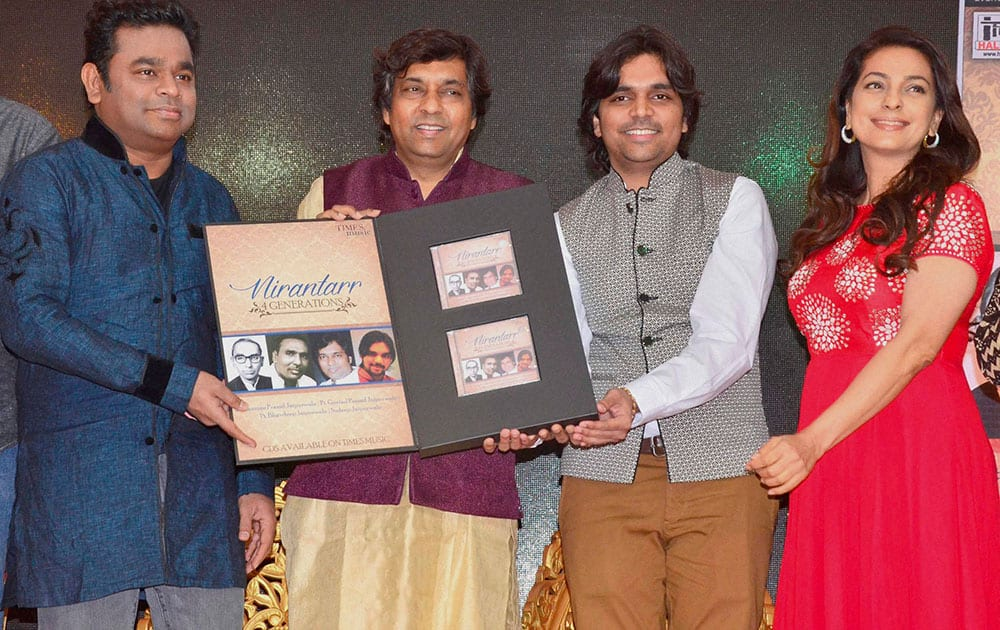 Bollywood music composer A R Rahman with actor Juhi Chawla during the launch of Bhavdeep and Sudeep Jaipurwales new music album Nirantarr, in Mumbai.