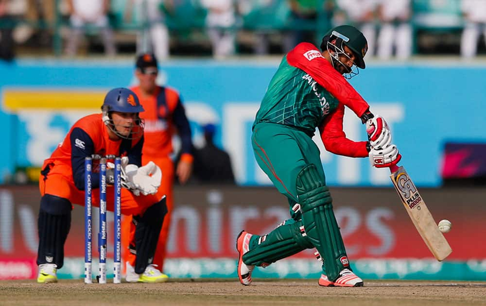 Bangladesh's Tamim Iqbal bats during the ICC World Twenty20 2016 cricket tournament against Netherlands at the Himachal Pradesh Cricket Association (HPCA) stadium in Dharmsala.