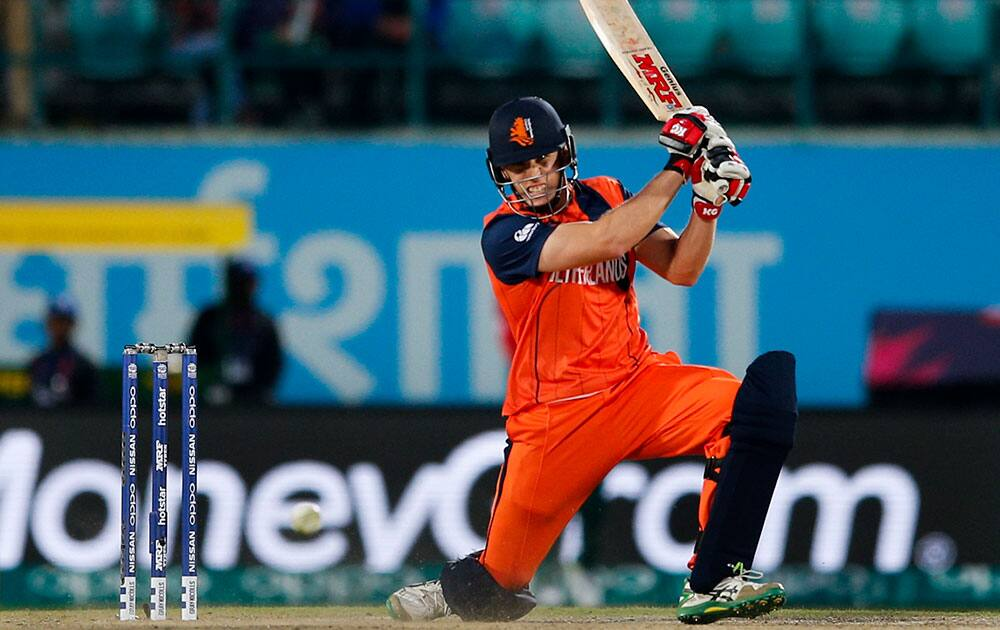 Logan van Beek of the Netherlands bats during the ICC World Twenty20 2016 cricket tournament against Bangladesh at the Himachal Pradesh Cricket Association (HPCA) stadium in Dharmsala.