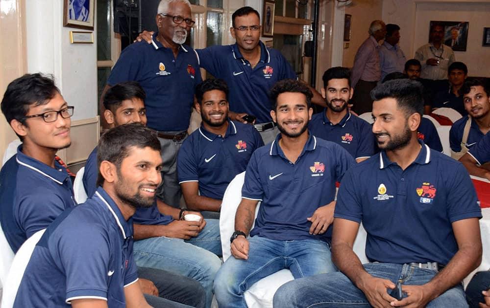 Under 23 Champions Mumbai cricket team members during their felicitation function at CCI in Mumbai.