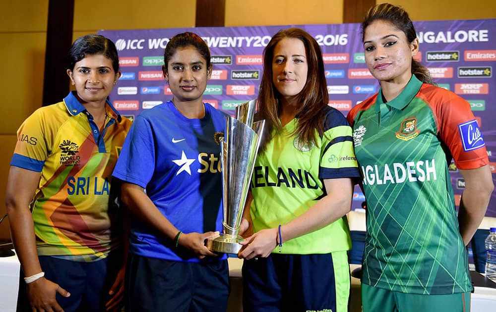 Indian Womans Cricket Team captain Mithali Raj, Srilanka captain Shashikala Siriwardene, Ireland Captain Isobel Joyce and Bangladesh captain Jahanara Alam with ICC World WT20 trophy during a press conference in Bengaluru.