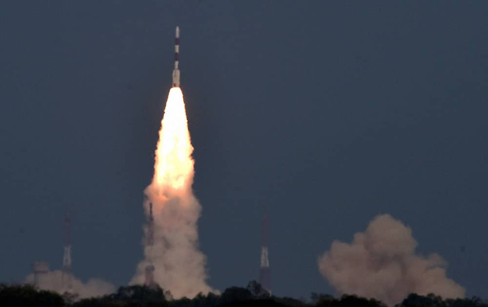 ISROs PSLV-C32 carrying Indias navigation satellite satellite, the IRNSS-1F lifts off successfully from the Satish Dhawan Space Centre, Sriharikota in Andhra Pradesh.
