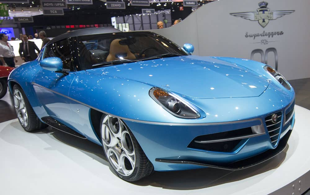The new Touring Superleggera Alfa Romeo Volante Spyder is presented during the second press day at the 86th International Motor Show in Geneva, Switzerland.