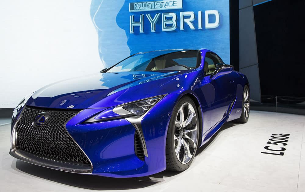 The new Lexus LC 500h is shown at the 86th International Motor Show in Geneva, Switzerland.