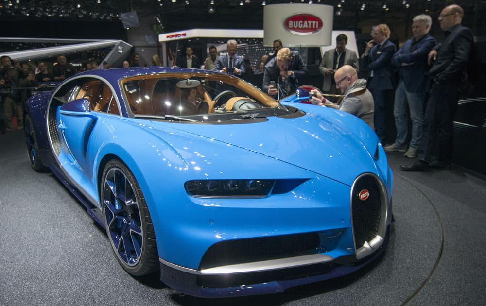 The New Bugatti Chiron is presented during the press day at the 86th International Motor Show in Geneva, Switzerland.