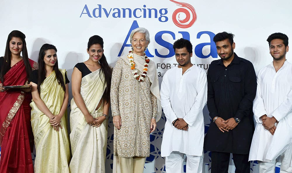 IMF MD Christine Lagarde during a welcome ceremony at a hotel on her arrival for the Advancing Asia in New Delhi.