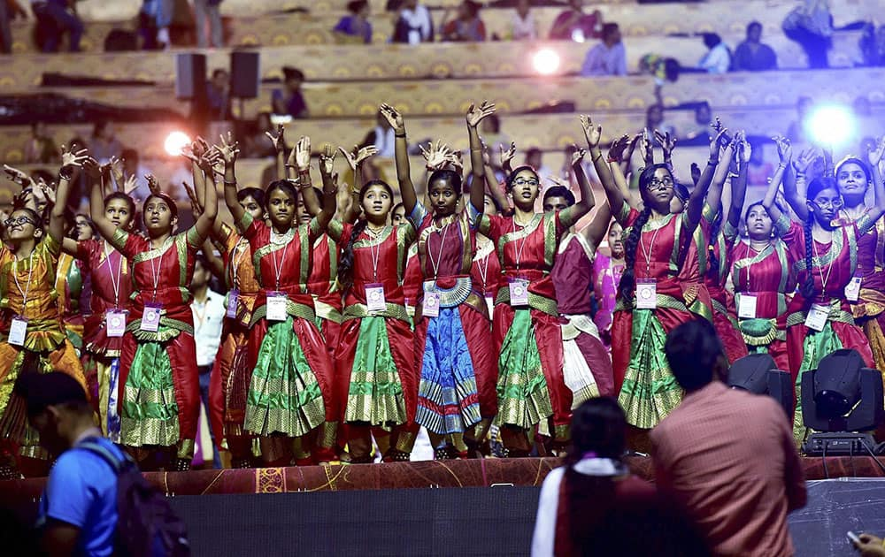 Artists rehearse on the eve of the three-day World Peace Festival being organised by Art of Living Foundation in New Delhi.