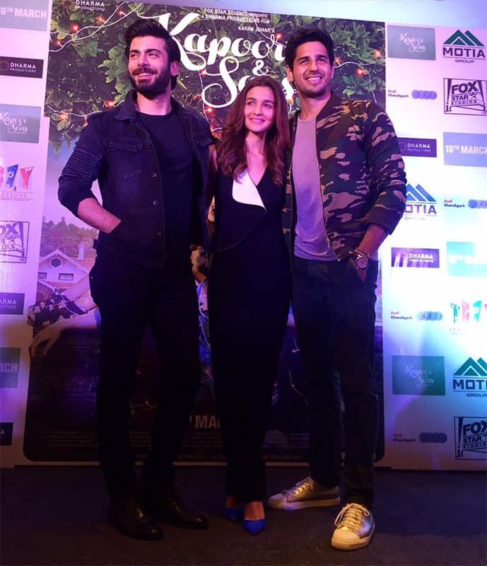The fashionable trio @S1dharthM @_fawadakhan_ @aliaa08 #KapoorAndSons Twitter@karanjohar