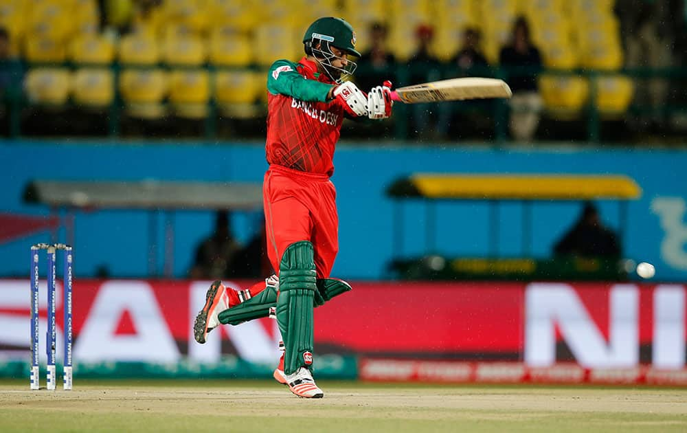 Bangladesh's Tamim Iqbal bats during their match against Ireland at the ICC World Twenty20 2016 cricket tournament at the Himachal Pradesh Cricket Association (HPCA) stadium in Dharmsala.