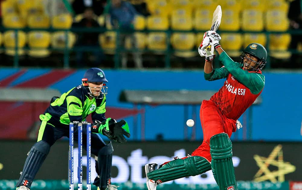 Bangladesh's Soumya Sarkar plays a shot during their match against Ireland at the ICC World Twenty20 2016 cricket tournament at the Himachal Pradesh Cricket Association (HPCA) stadium in Dharmsala.