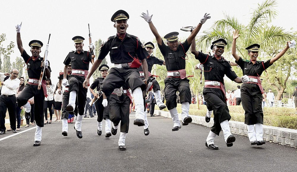 Newly commissioned lady officers in jubilant mood after their passing out parade at the Officers Training Academy in Chennai.