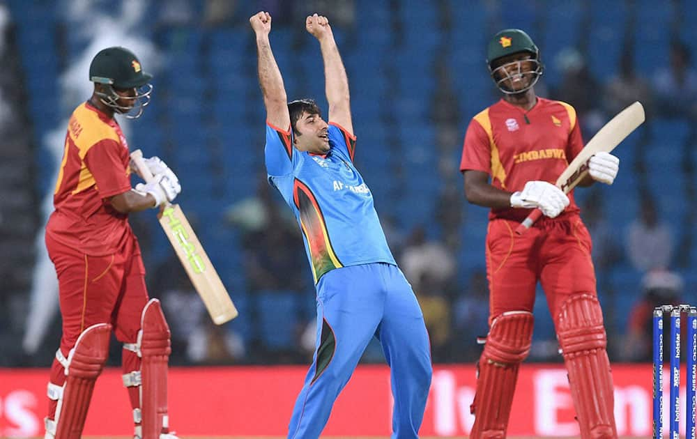 Afghanistan captain Asghar Stanikzai celebrates their victory against Zimbabwe in the ICC World Twenty20 2016 cricket tournament in Nagpur.