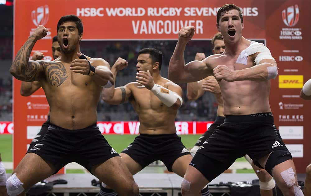 New Zealand players perform the haka after defeating South Africa during the World Rugby Sevens Series' Canada Sevens Cup final in Vancouver, Canada.