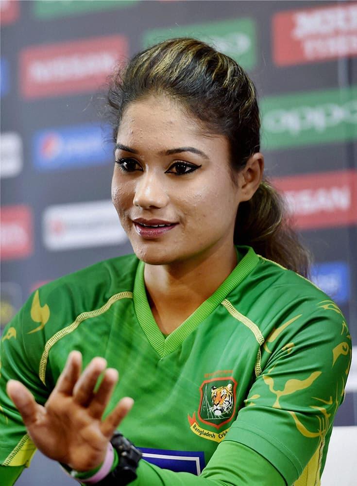 Bangladeshs Women Cricket teams captain Jahanara Alam addressing a press conferece ahead of the ICC Womens World T20 match against India at Chinnaswamy stadium in Bengaluru.